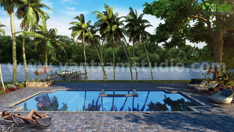 River with pool architectural rendering companies