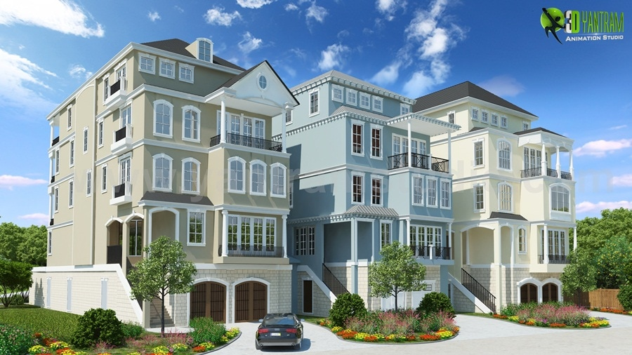 Condo Town house 3d building Front drawing